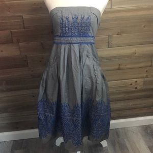 Floreat Grey Cotton Dress w/Blue Embroidery Size 4